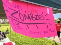 Sign on the back of team vans.