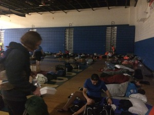 Runners pass out in the Boonsboro HS gym.
